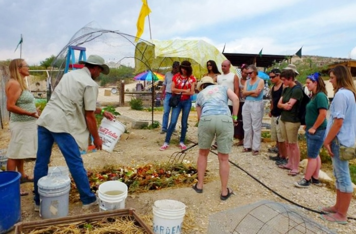 Compost demonstration in the Community Garden.